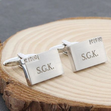 Personalised Diamonte Crystal Cufflinks